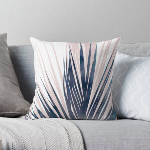 Contemporary Palm Leaf in Navy Blue and Blush Pink Throw Pillow