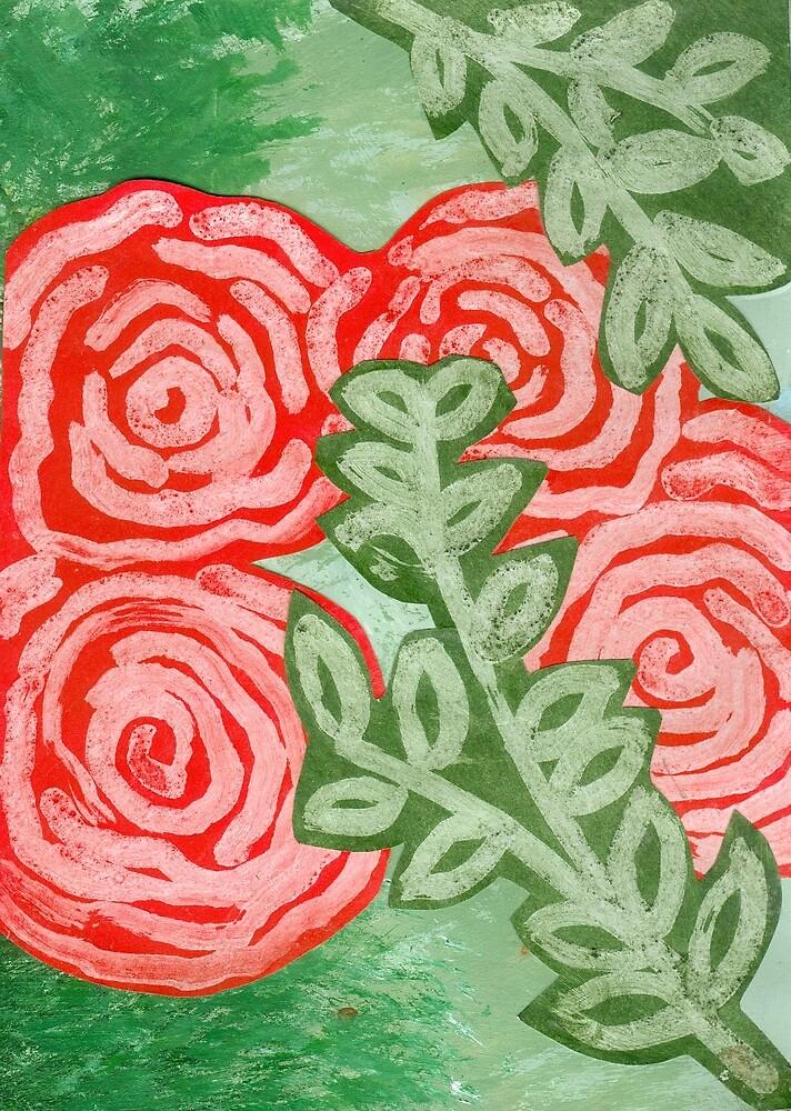Red Flowers by Roza Ganser