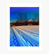 Traces on a winter hiking trail Art Print
