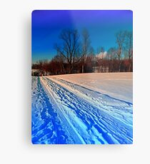 Traces on a winter hiking trail Metal Print
