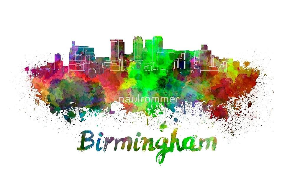 Birmingham AL skyline in watercolor by paulrommer