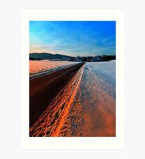 Winter road at sundown Art Print