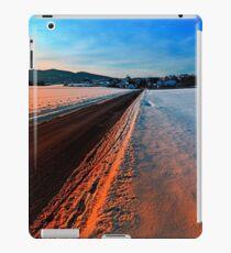 Winter road at sundown iPad Case/Skin