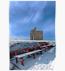 winters pathway to ballybunion castle and red benches Poster