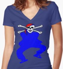 ★ټPirate Skull Style Hilarious Clothing & Stickersټ★ Women's Fitted V-Neck T-Shirt