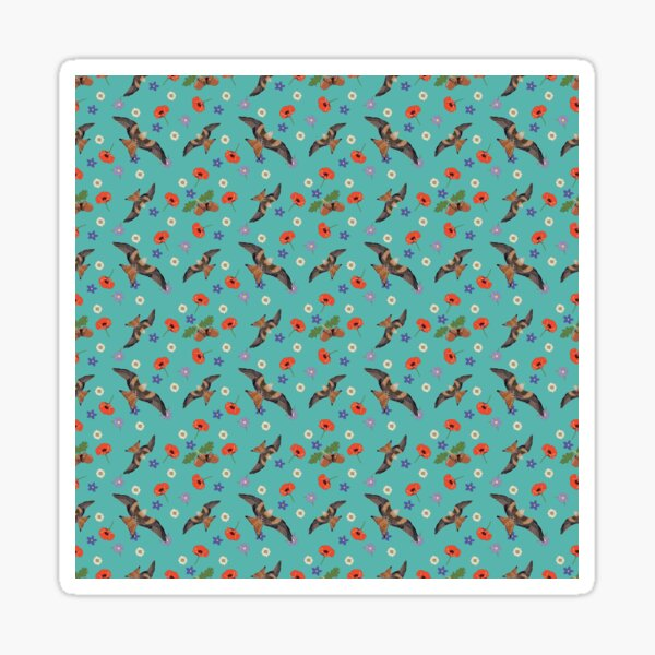 Alan's pattern, Featuring Red kites, poppies, daisies, lilacs and acorns. Sticker