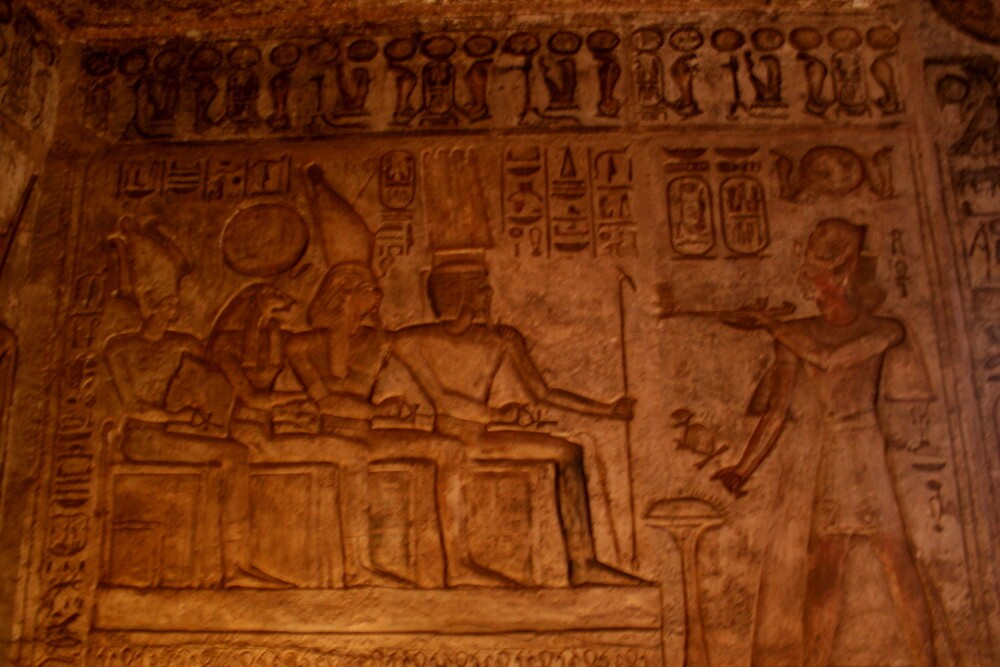 Depiction of offerings to Amun, Ramses Horus, and Ptah; Egypt by docnaus