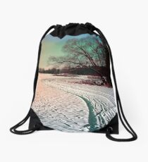 A snowy trail and some trees Drawstring Bag