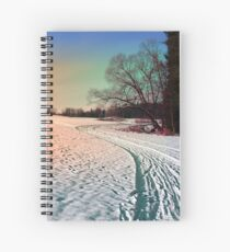 A snowy trail and some trees Spiral Notebook