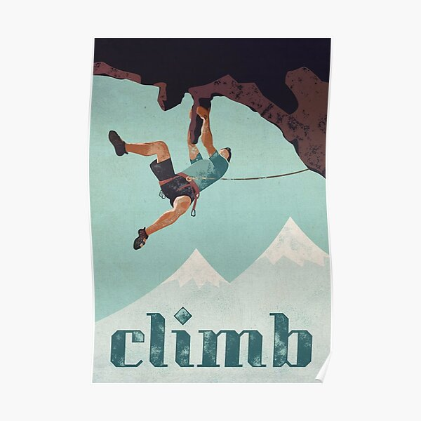 Vintage Style Rock Climbing Poster