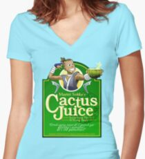 Master Sokka's Cactus Juice Women's Fitted V-Neck T-Shirt