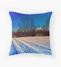 Traces on a winter hiking trail Throw Pillow