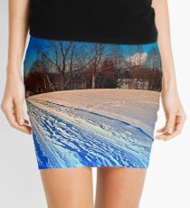 Traces on a winter hiking trail Mini Skirt