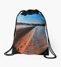 Winter road at sundown Drawstring Bag