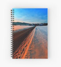 Winter road at sundown Spiral Notebook