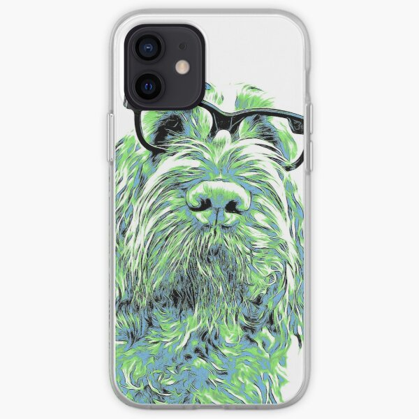 Intelligent friend Spinone abstract green iPhone Soft Case
