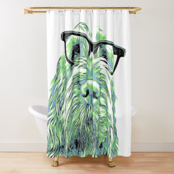 Intelligent friend Spinone abstract green Shower Curtain