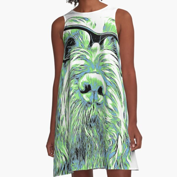 Intelligent friend Spinone abstract green A-Line Dress