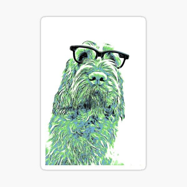 Intelligent friend Spinone abstract green Sticker