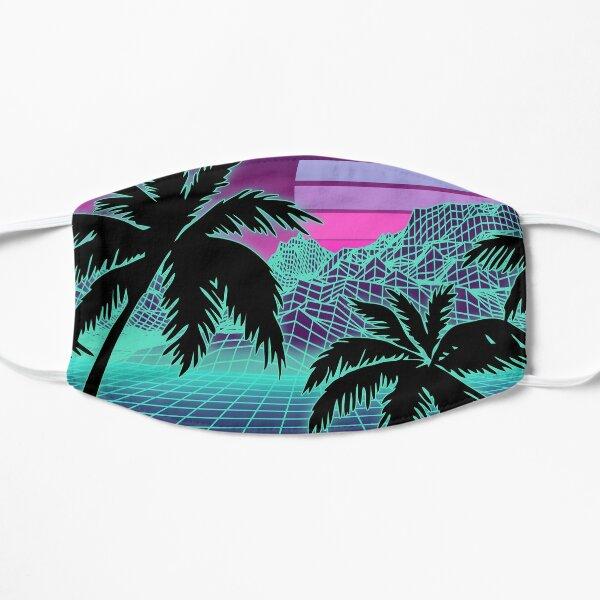 Retro 80s Vaporwave Sunset Sunrise With Outrun style grid print Flat Mask