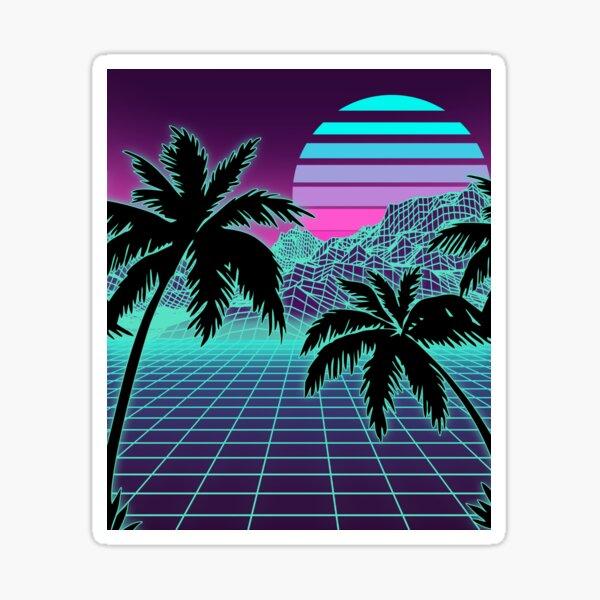 Retro 80s Vaporwave Sunset Sunrise With Outrun style grid print Sticker