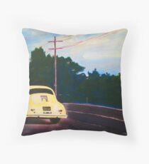 'California Dream on Hwy 1' Vintage Porsche 356 Throw Pillow