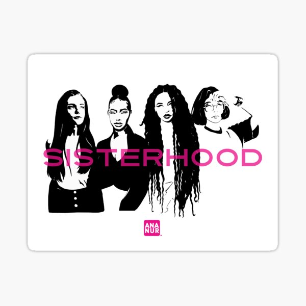 Sisterhood noir et rose Sticker