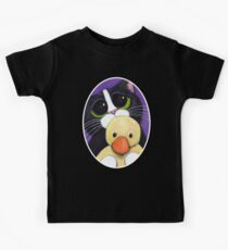 Scared Tuxedo Cat with Toy Duck Kids Tee