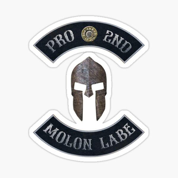 Pro 2nd Amendment, Molon Labe in Rockers with Spartan Helmet Sticker