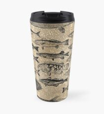 Vintage Illustration of Fishes Over Old Book Page Dictionary Art Collage Travel Mug