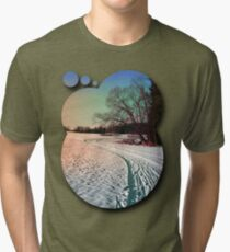A snowy trail and some trees Tri-blend T-Shirt
