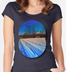 Traces on a winter hiking trail Women's Fitted Scoop T-Shirt
