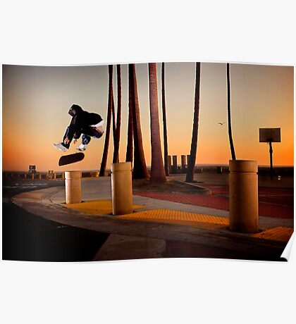 Pat Pasquale - Frontside Heelflip - Huntington Beach, CA - Photo Bart Jones Poster