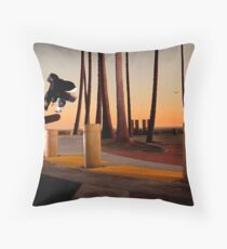 Pat Pasquale - Frontside Heelflip - Huntington Beach, CA - Photo Bart Jones Throw Pillow
