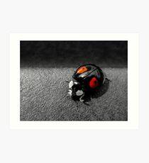 Black Ladybird with Red Spots Art Print