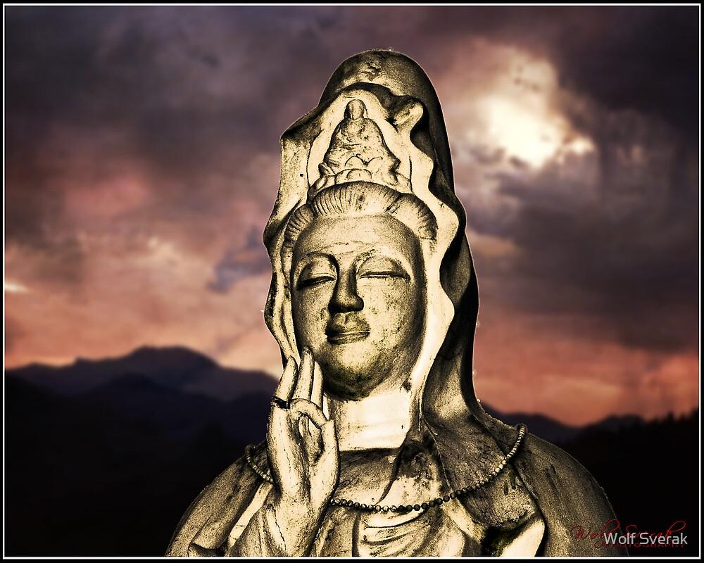 Religioius Statue in front of a Darkening Sky by Wolf Sverak