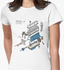 Nissan L6 Exploded View Women's Fitted T-Shirt