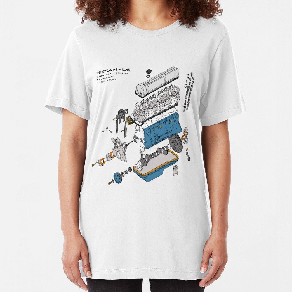 Nissan L6 Exploded View Slim Fit T-Shirt