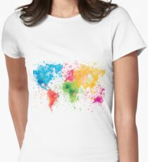 world map painting Women's Fitted T-Shirt