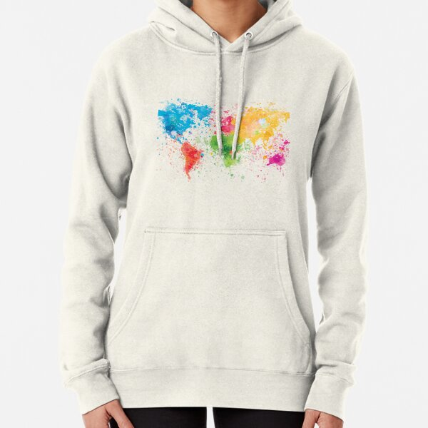 world map painting Pullover Hoodie