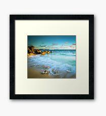 Sunlit Rocky Cove Framed Print