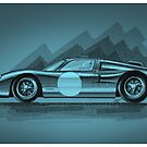 Ford GT40 blue - Digital Painting by David Jones