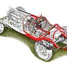 Alfa Romeo P3 - Cutaway by David Jones