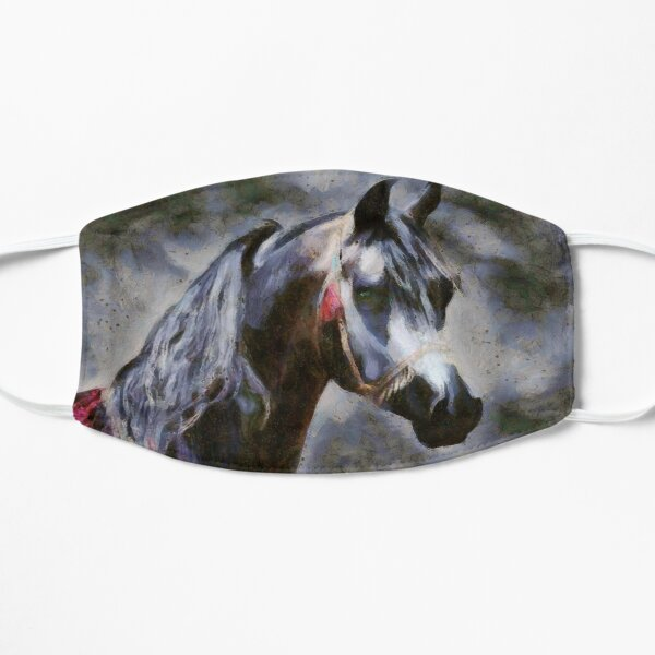 Arabian horse authentic gray oil painting Mask