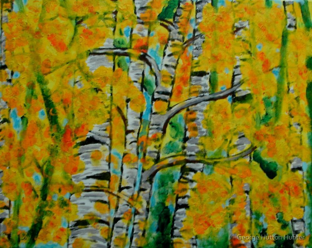 Birch trees in bloom by George Hunter