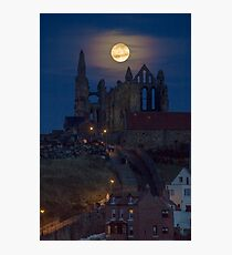 Super Moon Rise over Whitby Abbey North Yorkshire Dracula  Photographic Print