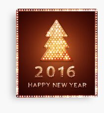Christmas greeting card with tree retro light banner.  Canvas Print