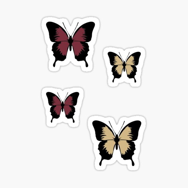 Red/Maroon/Garnet and Gold Butterfly Pack Sticker