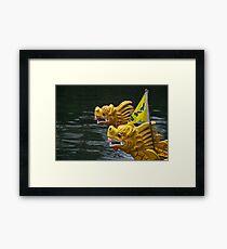 Vietnamese dragon figureheads and bamboo Basket boats, Brest 2008 Maritime Festival, France Framed Print