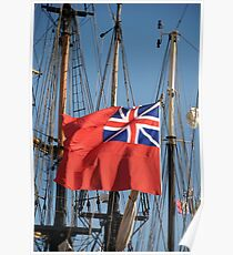 British ensign flag on ship, Brest 2008 Maritime Festival, Brittany, France Poster